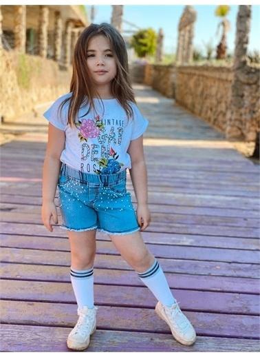 Hilal Akıncı Kids Kiz Çocuk Garden Model Puanli T-Shirt Incılı Kot Şort Ikılı Takim Pembe